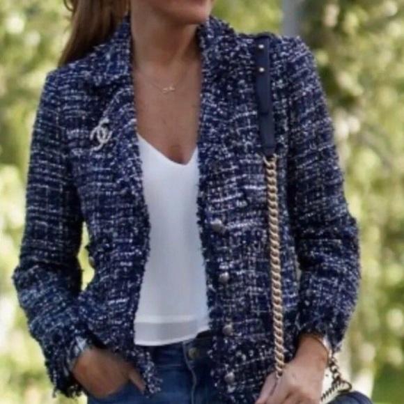 0d318d3e Zara Jackets & Coats | Blue Frayed Embellished Blazer Jacket | Poshmark